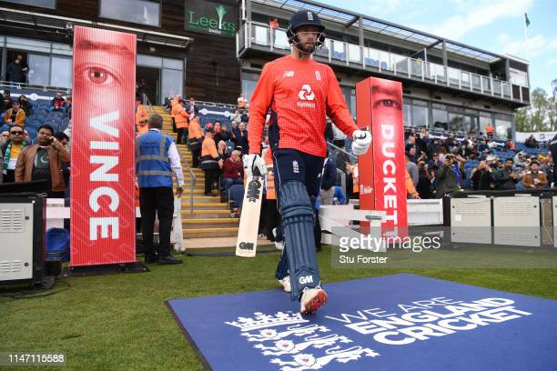 England batsman James Vince comes out to bat during the Twenty20 International match between England and Pakistan at Sophia Gardens on May 05 2019 in...