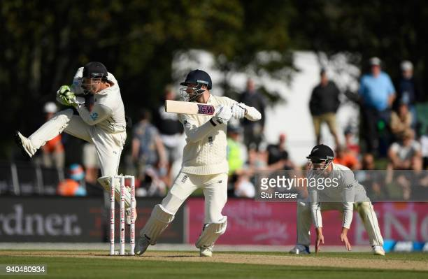 England batsman James Vince hits out watched by keeper BJ Watling during day three of the Second Test Match between the New Zealand Black Caps and...