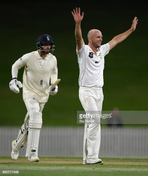 England batsman James Vince reacts after being dismissed by Seth Rance during day two of the Test warm up match between England and New Zealand...