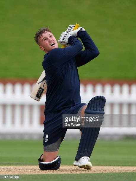 England batsman Jason Roy hits out during England Cricket nets at the Basin Reserve ahead of their T20 match against New Zealand on February 12 2018...