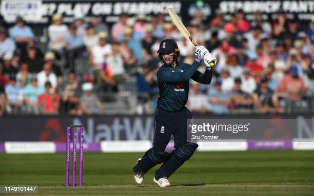 England batsman Jason Roy hits out during the 3rd Royal London ODI match between England and Pakistan at The County Ground on May 14 2019 in Bristol...