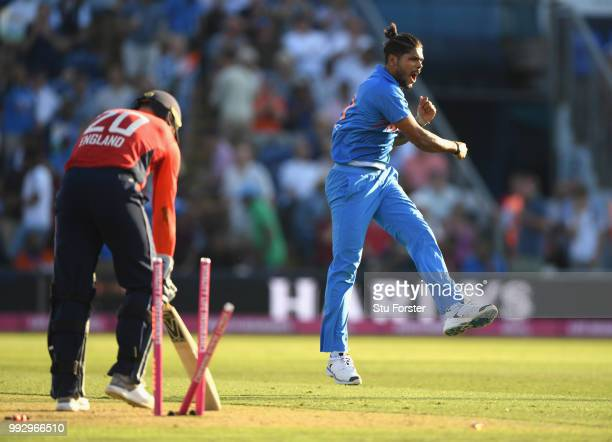 England batsman Jason Roy is bowled by India bowler Umesh Yadav during the 2nd Vitality T20 International between England and India at Sophia Gardens...