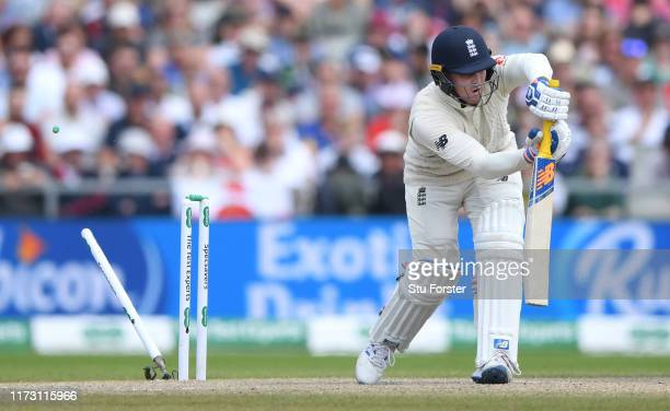 England batsman Jason Roy is bowled by Pat Cummins during day five of the 4th Ashes Test Match between England and Australia at Old Trafford on...