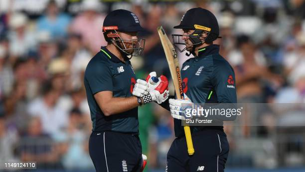 England batsman Jason Roy reaches 50 and is congratulated by Bairstow during the 3rd Royal London ODI match between England and Pakistan at The...