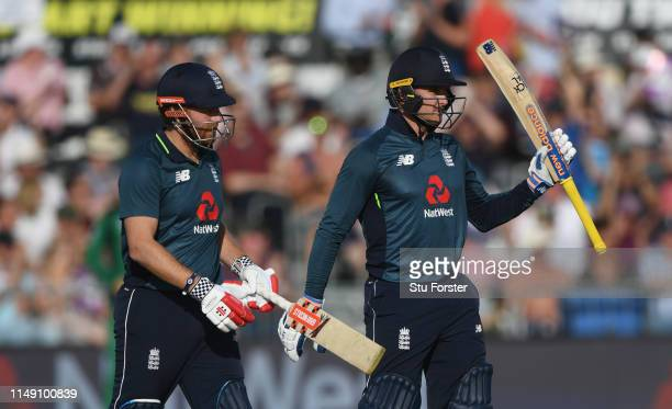 England batsman Jason Roy reaches 50 during the 3rd Royal London ODI match between England and Pakistan at The County Ground on May 14 2019 in...