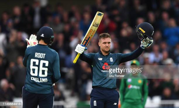 England batsman Jason Roy reaches his century during the 4TH One Day International between England and Pakistan at Trent Bridge on May 17 2019 in...