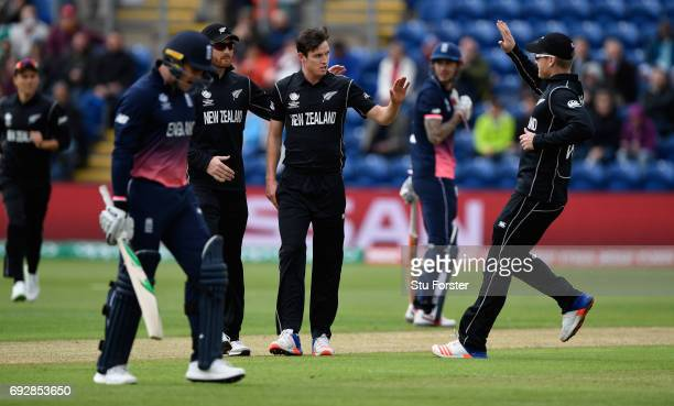 England batsman Jason Roy reacts after being bowled by Adam Milne during the ICC Champions Trophy match between England and New Zealand at SWALEC...