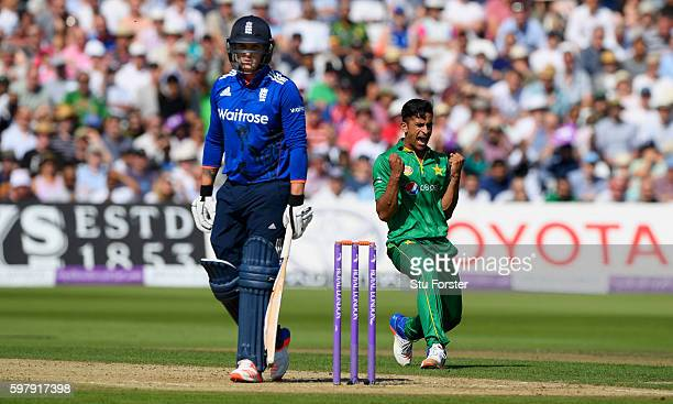 England batsman Jason Roy reacts as Pakistan bowler Hasan Ali celebrates his wicket during the 3rd One Day International between England and Pakistan...
