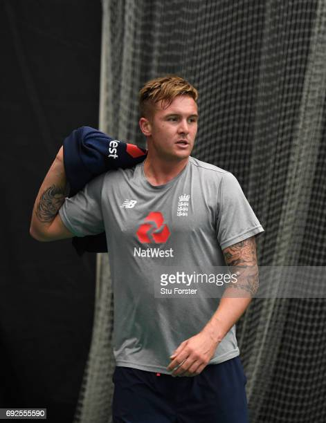 England batsman Jason Roy reacts during a game of Football during nets at the Swalec Stadium ahead of the ICC Champions Trophy match between England...
