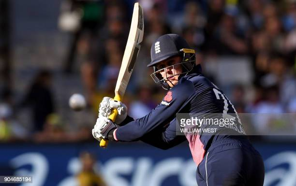 England batsman Jason Roy steers a ball fine from Australia's Mitchell Starc during the oneday international cricket match at the MCG in Melbourne on...