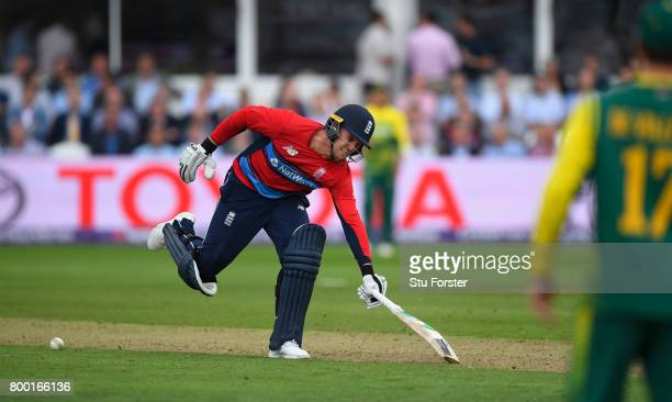England batsman Jason Roy stops the ball from hitting the stumps whilst going back to his crease and is given out obstructed the field during the 2nd...