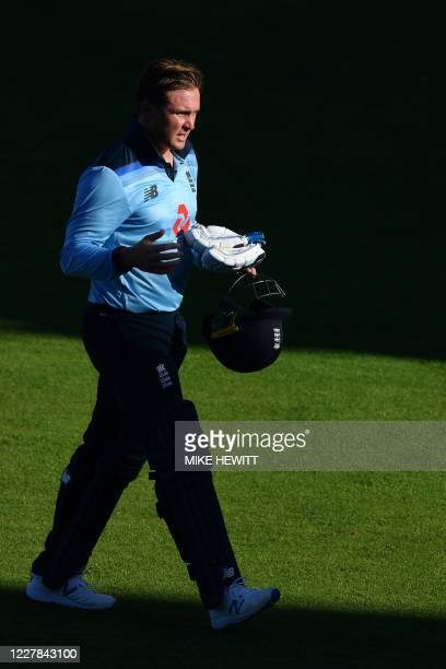 England batsman Jason Roy walks back to the pavillion after losing his wicket scoring 24 runs during the first One Day International cricket match...