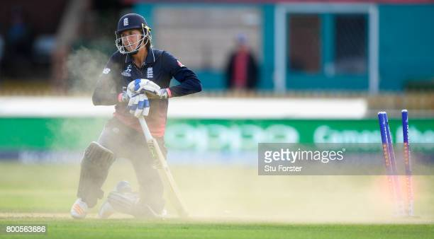 England batsman Jenny Gunn reacts after being run out during the ICC Women's World Cup 2017 match between England and India at The 3aaa County Ground...