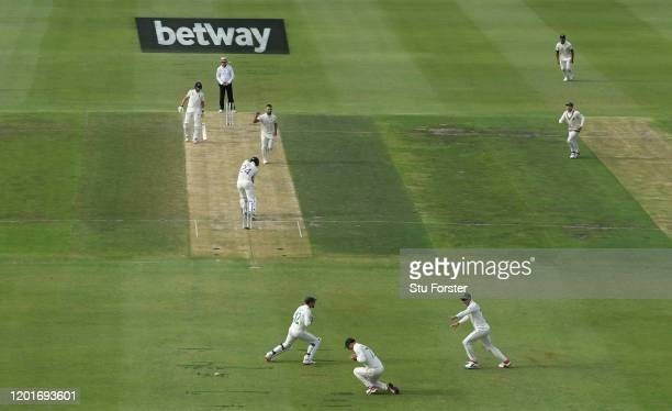 England batsman Joe Denly is caught at slip by Rassie van der Dussen off the bowling of Dane Paterson during Day One of the Fourth Test between South...