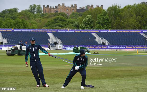 England batsman Joe Root and Alastair Cook warm up in the shadow of the Lumley Castle during England Nets session ahead of the 2nd Investec Test...