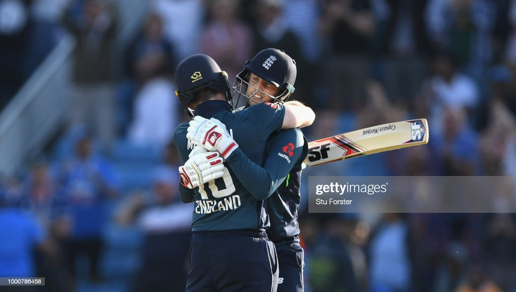 England batsman Joe Root celebrates his century off the last ball of the match with captain Eoin Morgan during 3rd ODI Royal London One Day match between England and India at Headingley on July 17, 2018 in Leeds, England.