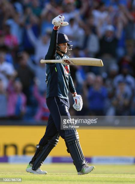 England batsman Joe Root celebrates his century off the last ball of the match during 3rd ODI Royal London One Day match between England and India at...
