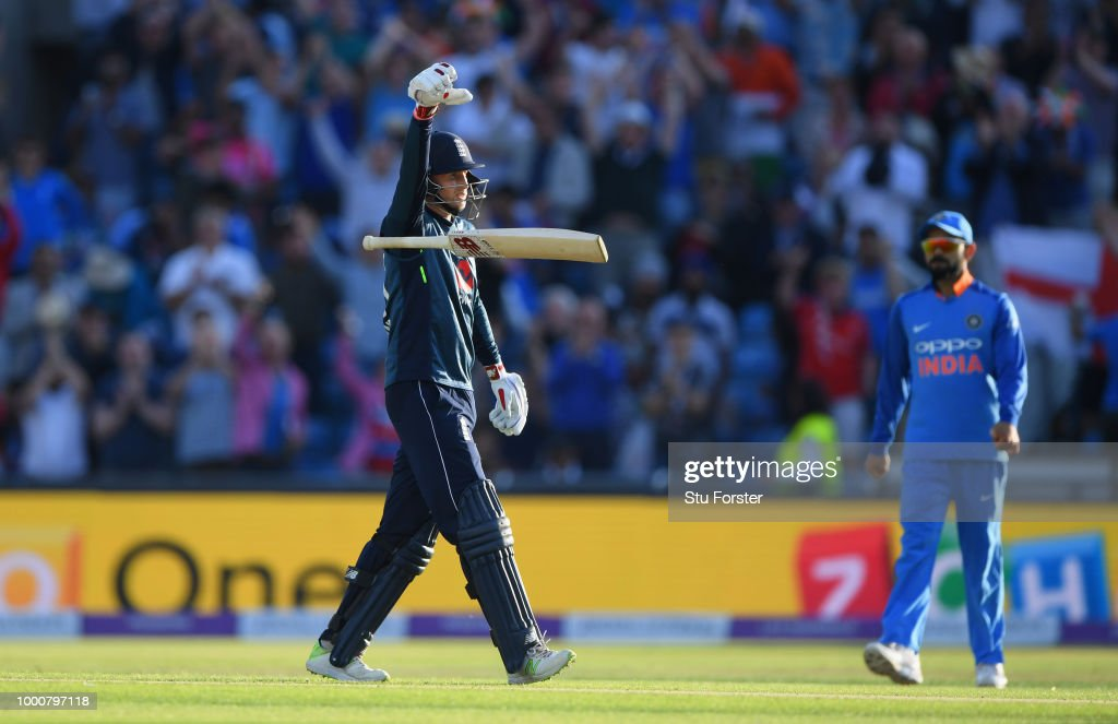 England batsman Joe Root celebrates his century off the last ball of the match during 3rd ODI Royal London One Day match between England and India at Headingley on July 17, 2018 in Leeds, England.