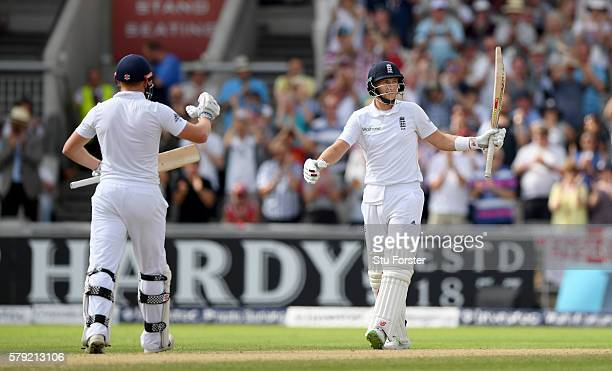 England batsman Joe Root celebrates with Jonny Bairstow after reaching 250 during day two of the 2nd Investec Test match between England and Pakistan...