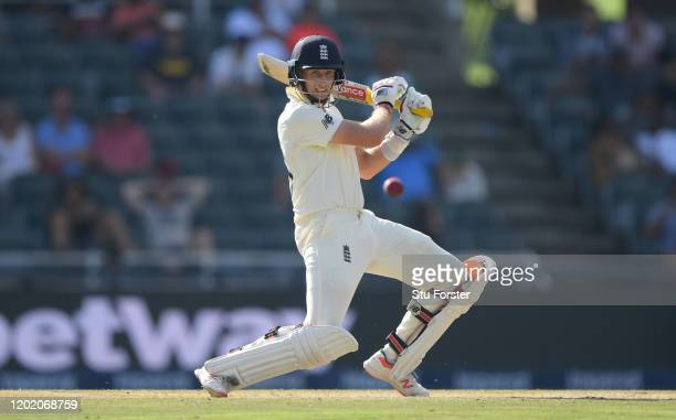England batsman Joe Root cuts a ball to the boundary during Day Three of the Fourth Test between South Africa and England at Wanderers on January 26,...