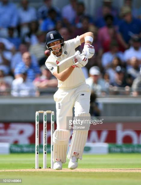 England batsman Joe Root drives during day 3 of the First Specsavers Test Match at Edgbaston on August 3 2018 in Birmingham England