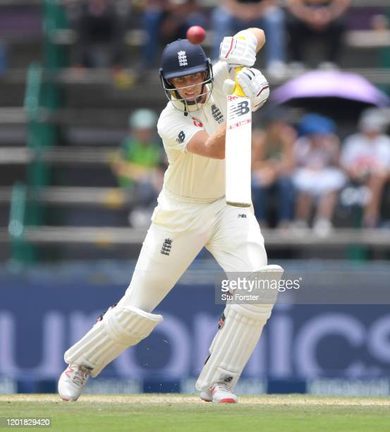 England batsman Joe Root drives towards the boundary during Day Two of the Fourth Test between South Africa and England at Wanderers on January 25...