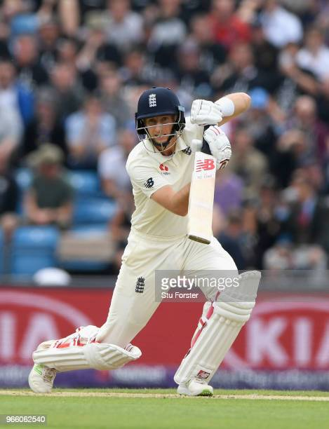 England batsman Joe Root drives towards the boundary during day two of the second test match between England and Pakistan at Headingley on June 2...
