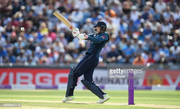 England batsman Joe Root hits out during 3rd ODI Royal London One Day match between England and India at Headingley on July 17 2018 in Leeds England