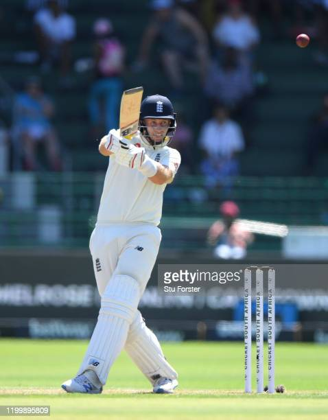 England batsman Joe Root hits out during Day One of the Third Test between England and South Africa at St George's Park on January 16, 2020 in Port...