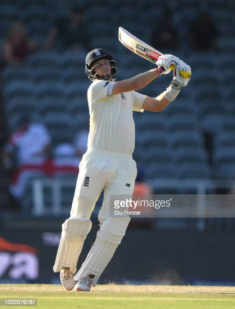 England batsman Joe Root hits out during Day Three of the Fourth Test between South Africa and England at Wanderers on January 26 2020 in...
