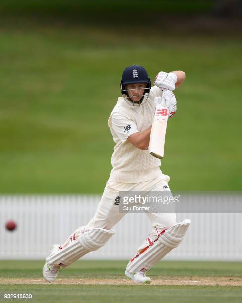 England batsman Joe Root hits out during day two of the Test warm up match between England and New Zealand Cricket XI at Seddon Park on March 17 2018...