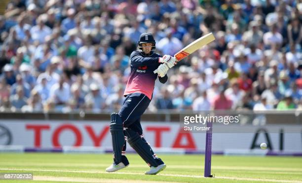 England batsman Joe Root hits out during the 1st Royal London One Day International match between England and South Aafrica at Headingley on May 24...