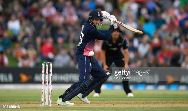 England batsman Joe Root hits out during the 2nd ODI between New Zealand and England at Bay Oval on February 28 2018 in Tauranga New Zealand