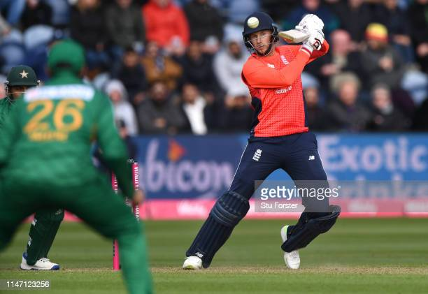 England batsman Joe Root hits out during the Twenty20 International match between England and Pakistan at Sophia Gardens on May 05, 2019 in Cardiff,...
