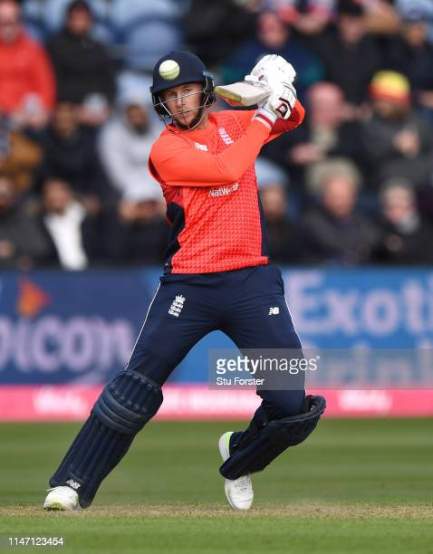 England batsman Joe Root hits out during the Twenty20 International match between England and Pakistan at Sophia Gardens on May 05 2019 in Cardiff...