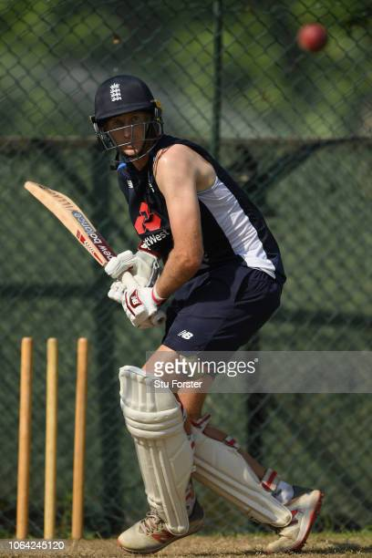 England batsman Joe Root in action during England Nets ahead of the 3rd Test Match at the Sinhalese Sports Club cricket ground on November 22 2018 in...