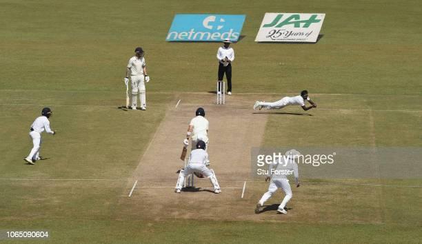 England batsman Joe Root is caught and bowled by Sri Lanka bowler Malinda Pushpakumara during Day Three of the Third Test match between Sri Lanka and...
