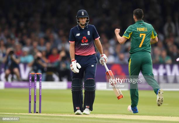 England batsman Joe Root is dismissed by Wayne Parnell during the 3rd Royal London Cup match between England and South Africa at Lord's Cricket...