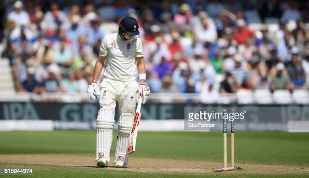 England batsman Joe Root looks back at his stumps after being bowled by Chris Morris during day four of the 2nd Investec Test match between England...