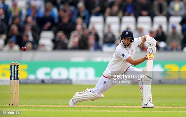 England batsman Joe Root picks up some runs during day one of the 2nd Investec Test match between England and Sri Lanka at Emirates Durham ICG on May...