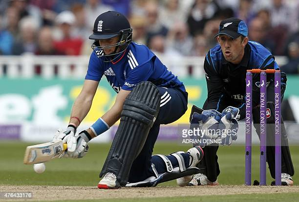 England batsman Joe Root plays a reverse sweep shot during the first oneday international cricket match between England and New Zealand at Edgbaston...