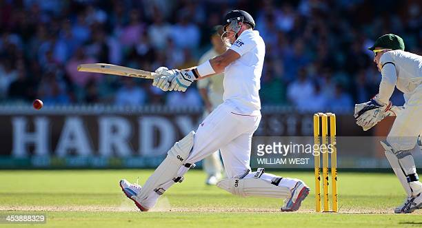 England batsman Joe Root pulls a delivery from the Australian bowling on the second day of the second Ashes cricket Test match in Adelaide on...