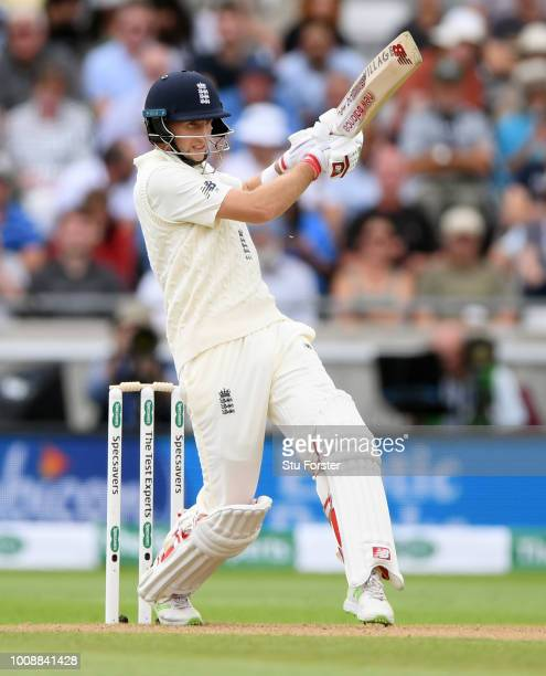 England batsman Joe Root pulls a short ball during day one of the First Specsavers Test Match between England and India at Edgbaston on August 1 2018...