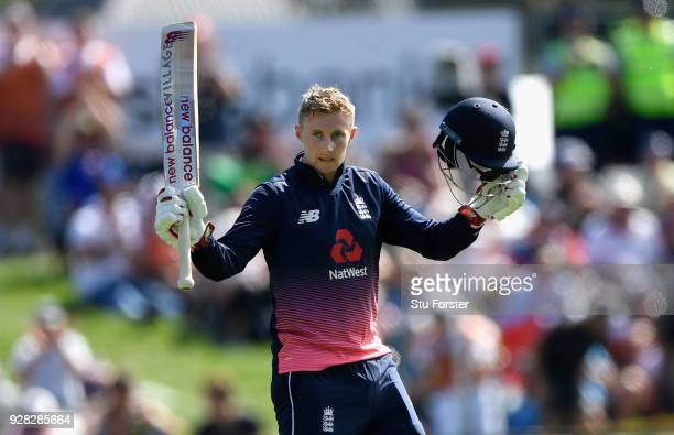 England batsman Joe Root reaches his century during the 4th ODI between New Zealand and England at University of Otago Oval on March 7 2018 in...