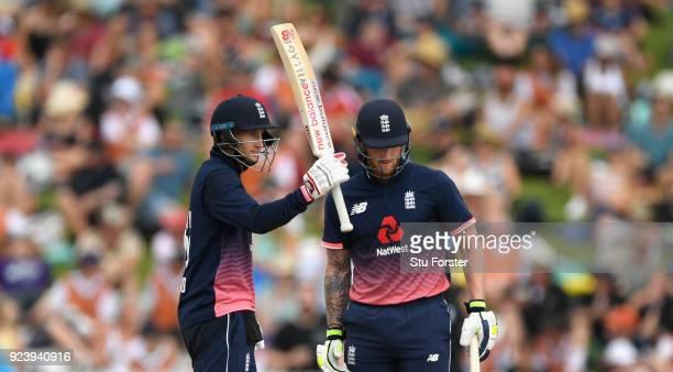 England batsman Joe Root reaches his half century during the 1st ODI between New Zealand and England at Seddon Park on February 25 2018 in Hamilton...