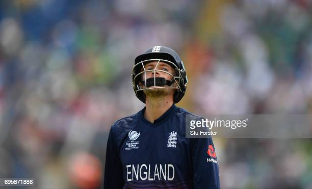 England batsman Joe Root reacts after being dismissed during the ICC Champions Trophy semi final between England and Pakistan at SWALEC Stadium on...