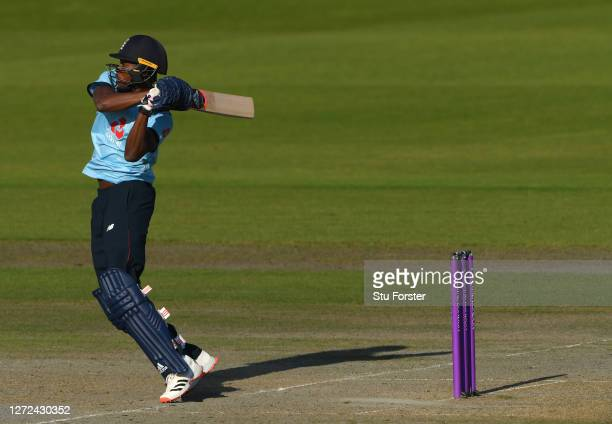 England batsman Jofra Archer hits out during the 2nd Royal London One Day International Series match between England and Australia at Emirates Old...