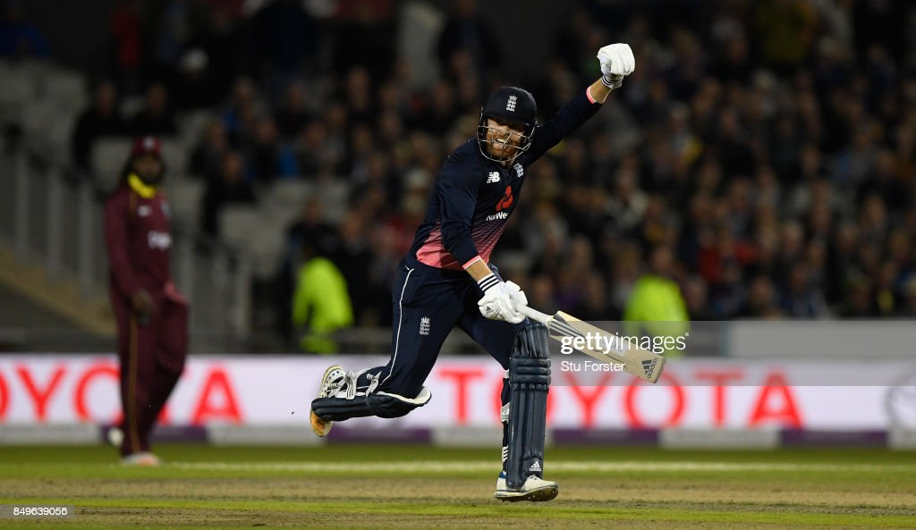 England batsman Jonathan Bairstow celebrates his century during the 1st Royal London One Day International match between England and West Indies at Old Trafford on September 19, 2017 in Manchester, England.