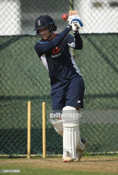 England batsman Jonathan Bairstow hits out during England Nets ahead of the 3rd Test Match at the Sinhalese Sports Club cricket ground on November...