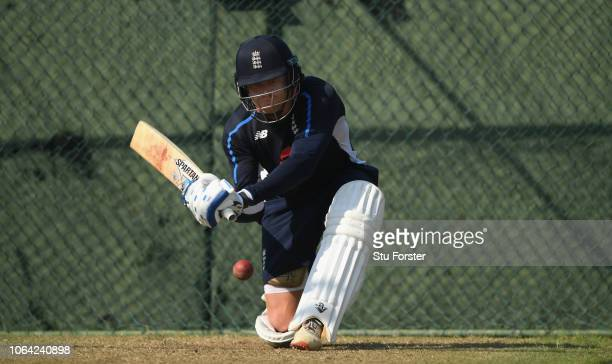 England batsman Jonathan Bairstow hits out during England Nets ahead of the 3rd Test Match at the Sinhalese Sports Club cricket ground on November 22...